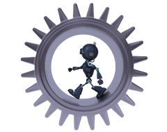 robot in a cog wheel